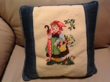"""Vintage Needlepoint Pillow HUMMEL GIRL Blue Velvet Backing Handmade 13"""" Square"""