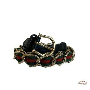 Authentic GUCCI Black Green Red Sherry Line Chain Belt Canvas Leather Size 36