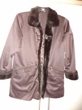 Smart Dannimac Coat Size S Chocolate Brown Fur trim