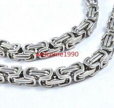 8mm 23.6'' Stainless steel Byzantine Box Link Chain Necklace Men XMAS Jewelry