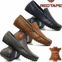 Mens Red Tape Leather Slip On Casual Mocassin Designer Loafer Driving Shoe Size