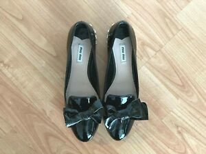 Miu Miu black patent loafers with bow detail and crystals on heels, EU40.5/US10