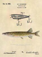 Official Pickerel Fishing Lure Patent Art Print - Vintage Pike Print - 513