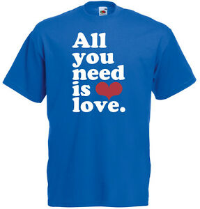 All you need is Love, Song, music, Beatles Inspired Men's Printed T-Shirt