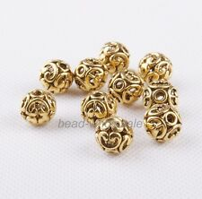 10Pcs Tibetan silver Round Hollow Spacer Beads Findings 12mm Silver/Gold/Bronze