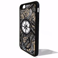 Anchor compass nautical sailing pattern tattoo cover case for Iphone 8 8 plus