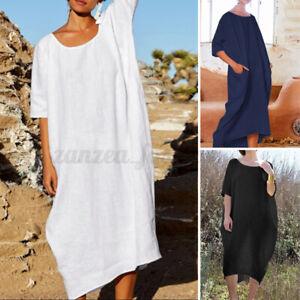 ZANZEA Femme Robe Dress Manche 3/4 Col Rond Demi Manche Loisir Ample Party Midi