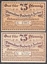Badetz -Domäne- 2 Scheine zu je 75 Pf. (L 57)
