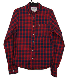 ABERCROMBIE & FITCH Muscle   Men's LS Check Button Shirt   Red Blue   Size S