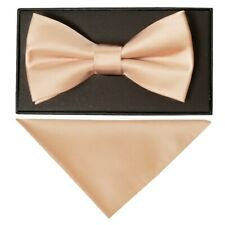 Plain Nude Satin Mens Bow Tie and Pocket Square Set Wedding Bow Tie Pre Tied