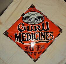 1920 VINTAGE GURU MEDICINE GERMANY PORCELAIN ENAMEL SIGN RARE ORIGINAL