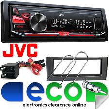 Fiat Grande Punto JVC Mechless MP3 USB AUX RDS AUTO STEREO & Grigio Kit Fascia