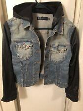 Jet By John Eshaya Jean Jacket Black Leather Sleeves   PS $352