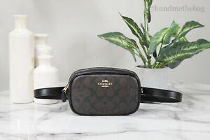 Coach F79209 Small Signature Brown/Black Coated Canvas Leather Belt Bag Handbag