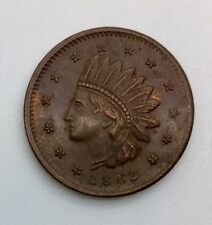 1863 Civil War Token Not One Cent Patriotic Lustrous Brown Some Red Nice