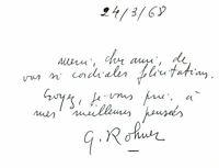 🌓 Peintre Georges ROHNER (1913-2000) | carte autographe | Académie Beaux-Arts