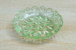 Vintage Art Deco Green Depression Glass Scallop Rim Butter/Jam Dish