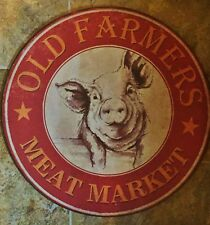 Large Old Farmers Meat Market Pig BBQ Grill Hog  Farmer  Metal Sign Country