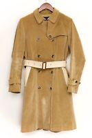 Burberry London Womens Corduroy Trench Coat Solid Tan Leather Belt Belted