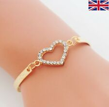 Women's Fashion Rhinestone Gold Heart Bangle Bracelet - UK Free P&P