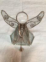 Textured Glass & Metal Christmas Angel with Harp Votive Candle Holder