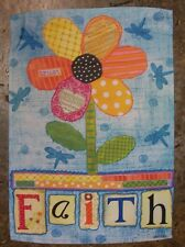 """Faith"" Trust Love Flower with Dragonflies decorative Garden Flag"
