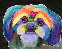 RAINBOW LHASA 8X10 Dog print of Lhasa Apso by Artist Sherry Shipley
