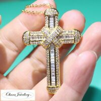 925 Solid Sterling Silver 18K Yellow Gold Large Cross CZ Necklace Jewellery Uk