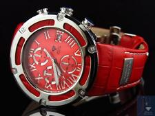 Mens Aqua Master El Russo W#346 Red Stainless Steel Genuine Diamond Watch 0.20Ct