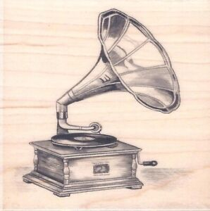 Vintage Style GRAMOPHONE Music Player PHONOGRAPH Wood Mount Rubber Stamp Retro