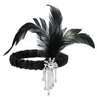Feather Sequin Headband Flapper Great Gatsby 1920s Black Head Piece Headwear VTG