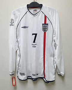 2002 ENGLAND Home shirt L/S No.7 BECKHAM 2002 WorldCup Sweden match 50th cap
