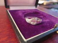 Schöner 925 Silber Ring Muster Verschlungen Vintage Retro Modern Klassiker Top