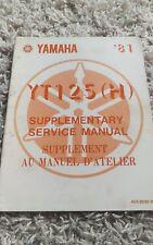 1981 Yamaha YT125(H) YT125 YT 125 Shop Service Repair Manual Supplement OEM