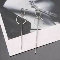 Korean  Double Circle Dangling Earrings Geometric Drop Earring Female Jewelry