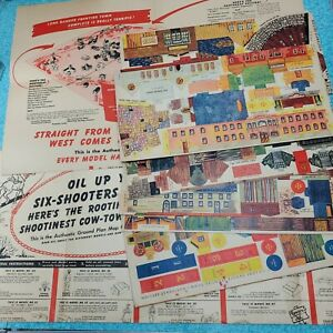 1948 Lone Ranger Frontier Town Cardboard Panels Maps Never Assembled Set of 3