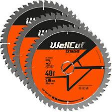 Wellcut TCT Lame Scie 216 mm x 48 T X 30 mm alésage pour GCM800, GCM8SJL Pack de 3