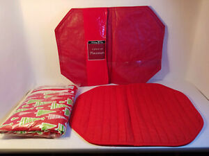 "Misc. Christmas Kitchen Bundle of Vinyl 60"" Dia. Table Cloth & 3-Red Placemats"
