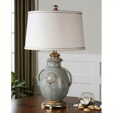 Uttermost Cancello Textured Ceramic Lamp in Distressed Light Blue