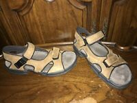 Bass Nitrogen Men's Sport Sandals Brown Leather Hook & Loop Size 11M