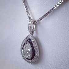 Sapphire 1.68 Ct Off White Pear Moissanite 925 Sterling Silver Pendant