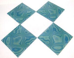 4pc ReTrO VtG SPACE AGE MOD AQUA BLUE 3-D OPTiC OP POP ART 8x8 MAGiC GLASS TiLE