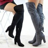 Ladies New Over The Knee Thigh High Boots Lace Up High Block Heel Zip Shoes Size