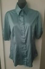 B•WORKS Solid Blue Button Down Collar 3/4 Sleeves Career Causual Top Blouse Sz L