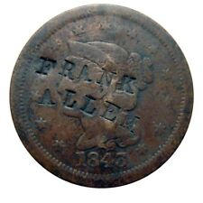 Large cent/penny 1843 DOUBLE counterstamp two different vendors