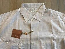 525$ Loro Piana Andre Blue Plaid Cotton Shirt Size Large Made in Italy