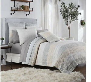 New UGG Tideline King Quilt bed spread coverlet cotton stripes gray