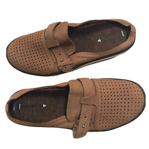 Merrell Mules Tan Slip on Around Town Shoe Perforated Size 8 Mens Leather Buckle