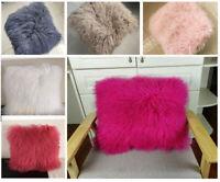 100% Real Mongolian Tibetan Lamb Fur Pillow Cushion Wool Fur Pillowcase 6 Color