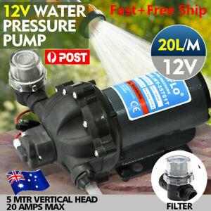 12V Water Pump 20L/MIN 70 PSI High Pressure Camping Caravan Farm Boat Deck Wash